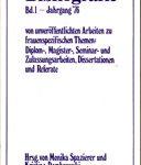 Bibliografie Bd. 1 - Jahrgang ´76 von unveröffentlichten Arbeiten zu frauenspezifischen Themen: Diplom-