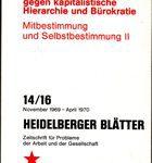 Heidelberger Blätter - Zeitschrift für Probleme der Arbeit und der Gesellschaft 14/16